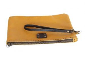 wrist clutch mustard zip