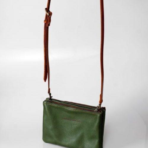 double zip slingbag olive side
