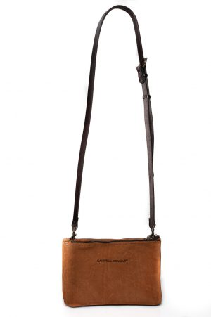 Single sling bag zip tan