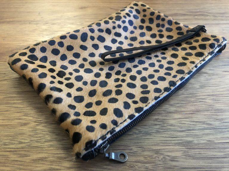 animal print leather wrist bag